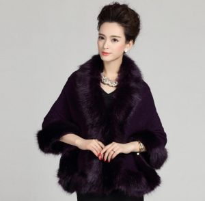 Purple Color Oversized Knitted Cardigan Cape Coat Fox Fur Shawl