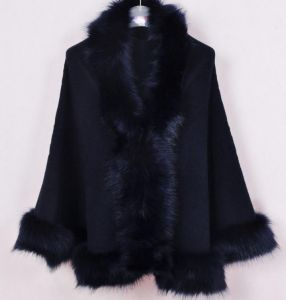 Dark Midnight Blue Oversized Knitted Cardigan Cape Coat Fox Fur Shawl
