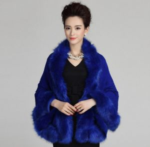 Dark Blue Color Oversized Knitted Cardigan Cape Coat Fox Fur Shawl
