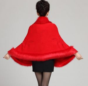 Red Color Oversized Knitted Cardigan Cape Coat Fox Fur Shawl