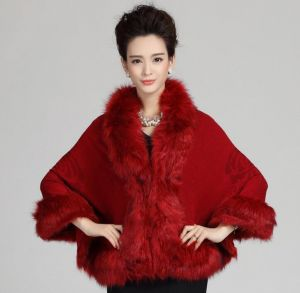 Maroon Color Oversized Knitted Cardigan Cape Coat Fox Fur Shawl