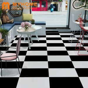 Guangzhou Stock Black and White Grid Wall Tiles Wall Sticker Flooring
