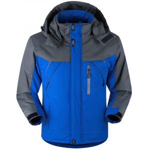 Blue Color Plus Thick Velvet Windproof Down Coat Winter Men Waterproof Jacket