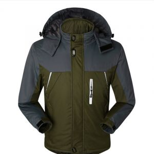 Green Color Plus Thick Velvet Windproof Down Coat Winter Men Waterproof Jacket
