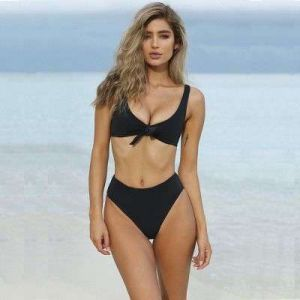 Black Color Pull up Tie Front Solid Color Top High Waist Bikini