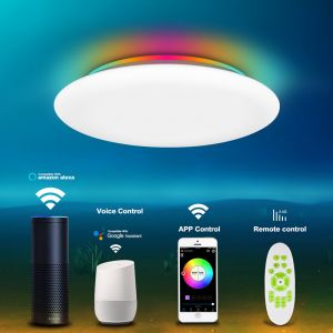 Smart WiFi Surface Mounted Ceiling Light with RGB Remote Control Voice