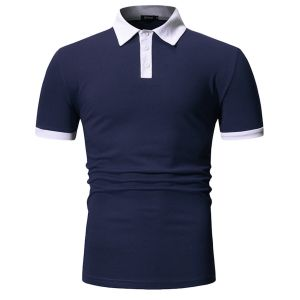Navy Blue Color Summer New Design Your Own Style Custom Logo 100% Cotton Mens Polo Shirts