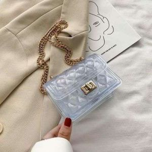 Summer Transparent Bag Female New Wave Fashion Popular Kids Jelly Bag Wild Chain Messenger Small Square Purses