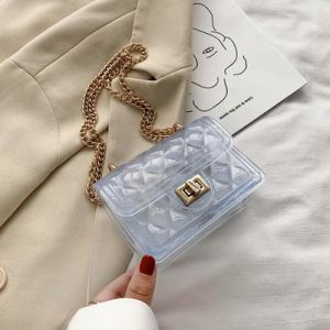 Summer Transparent Bag Female 2020 New Wave Fashion Popular Kids Jelly Bag Wild Chain Messenger Small Square Purses