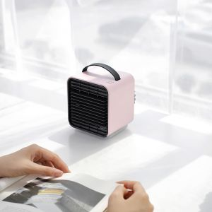 Pink color Portable Wireless Battery Powered Cool Wind Water and Ice Negative Ion Mini Air Conditioner Fan
