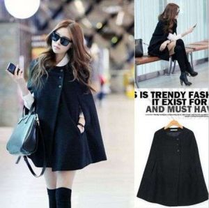 The Latest Women Winter Warm Batwing Wool Casual Poncho (14369)
