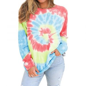Red Color Tie-Dye Printed Round Neck Long Sleeves Women Pullover Sweatshirt