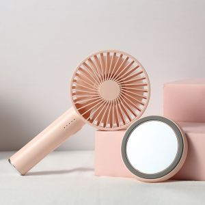 Peach color Mini Fan Portable Desktop USB Rechargeable Phone Holder Portable Clip on Cooling Fan for Make up Mirror Base