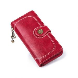 Vintage PU Card Holder Long Zipper Buckle Clutch Red Color  Wallet with Wristlet