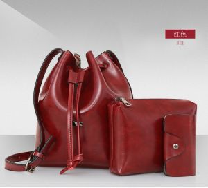 Vintage Women′s PU Leather Bucket Bag+Shoulder Bag+Card Holder 3PCS Set Bag