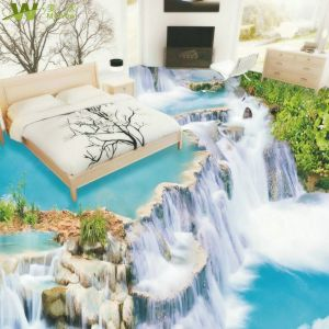 Waterfall Scenery Waterproof Bathroom Wallpaper 3D Floor Stickers