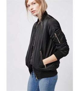 Black Color Wholesale Fashion Army Flight Life Spring and Autumn Woman Collar Jacket