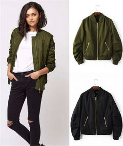 Multi Color Wholesale Fashion Army Flight Life Spring and Autumn Woman Collar Jacket