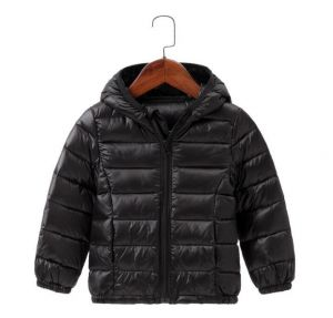 Black Color Winter Children′s Lightweight Down Jacket