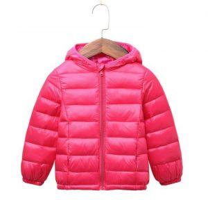 Dark Pink Color Winter Children′s Lightweight Down Jacket