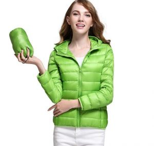 Green Color Winter Ladies Hooded White Duck Down Oversized Jacket