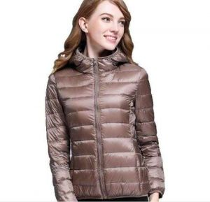 Brown Color Winter Ladies Hooded White Duck Down Oversized Jacket