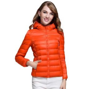 ORANGE Color Winter Ladies Hooded White Duck Down Oversized Jacket