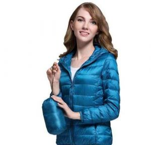 Blue Color Winter Ladies Hooded White Duck Down Oversized Jacket