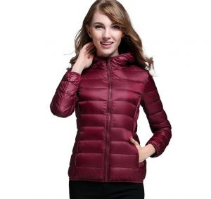 Maroon Color Winter Ladies Hooded White Duck Down Oversized Jacket