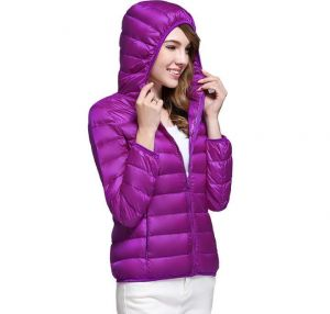 Purple Color Winter Ladies Hooded White Duck Down Oversized Jacket