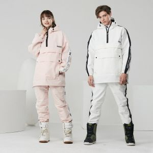 Winter Unisex Ladies Outdoor White/Pink/Black Waterproof Best Custom Race Snow Wear Fashion 2 Piece Ski Suits for Adults