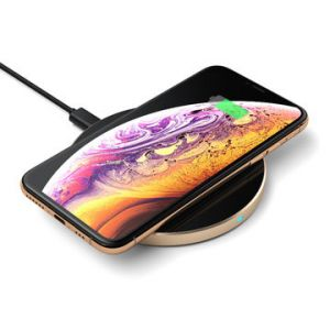 Single coil Qi certified fast wireless charger pad with soft touch