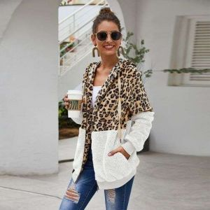 White Color Women Autumn and Winter Leopard Stitching Fleece Sweater Coat