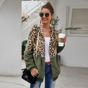 Green Color Women Autumn and Winter Leopard Stitching Fleece Sweater Coat