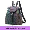 Women Backpack Luminous Geometric Plaid Sequin Female Travel Bag