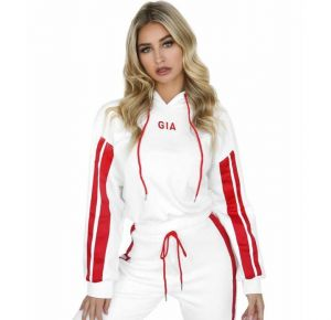 White Color  Women Colorblock Hooded Sweater Casual Suit