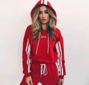 Red Color Women Colorblock Hooded Sweater Casual Suit