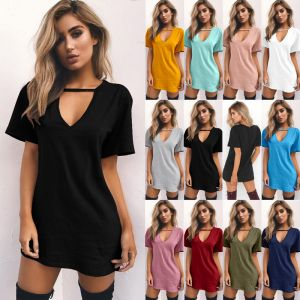 Women Dress Sexy Deep V-Necked Short-Sleeved T-Shirt Loose Casual  Multi Color Dress (18150)