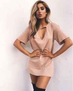 Women Dress Sexy Deep V-Necked Short-Sleeved T-Shirt Loose Casual Beige  Color  Dress (18150)