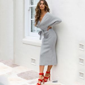 Women Fall Winter V Neck Backless Bat Sleeve Tight Knit Grey Color  Dress