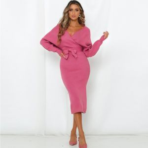 Women Fall Winter V Neck Backless Bat Sleeve Tight Knit  Pink Color Dress