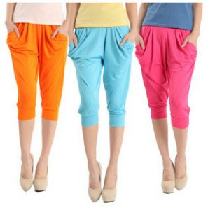 Women Fashion Candy Colors Cropped Harem Multi   Color  Pants