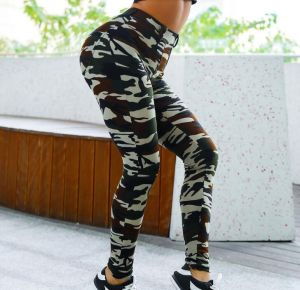 Women HIPS Slim Camouflage Print Stretch Black Color Yoga Pants