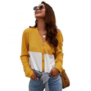 Yellow Color Women Knitted Sweater Tie Knot Splice Knitted V Neck Tees Shirt