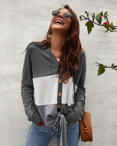 Grey Color Women Knitted Sweater Tie Knot Splice Knitted V Neck Tees Shirt