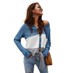 Blue Color Women Knitted Sweater Tie Knot Splice Knitted V Neck Tees Shirt