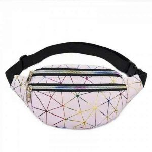 Women Pink Silver Black Fanny Pack Holographic Geometric Waist Bags
