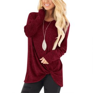 Women′s Batwing Sleeve Turtleneck Pullover Tunic Tops