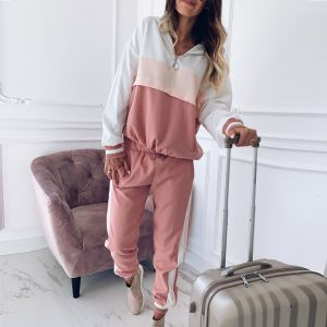 Pink Color Women′s Color Matching Fashion Sweater Suit