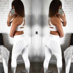 Women′s Digital Printing Pants Ladies Skinny White Color  Leggings